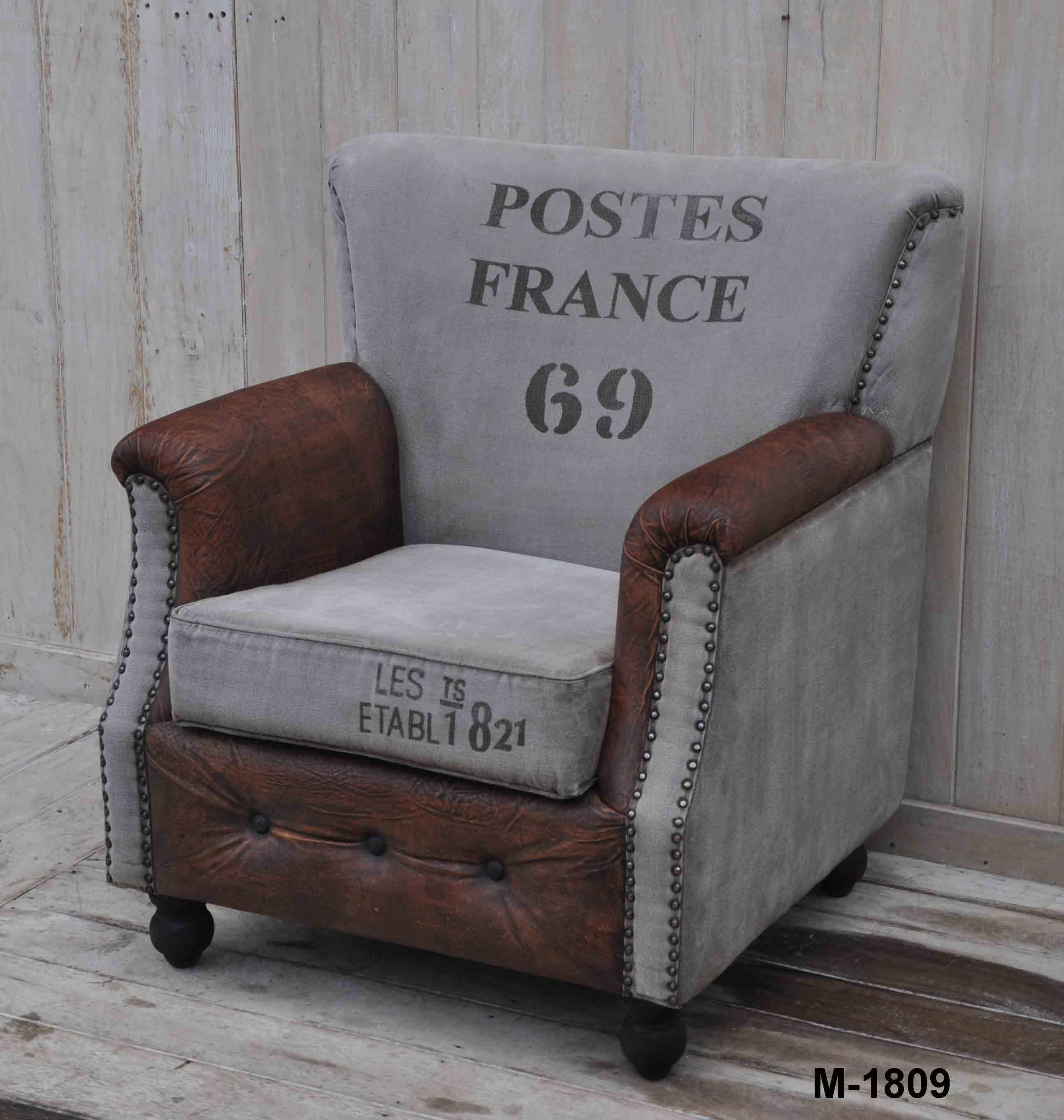 This Beautiful French Inspired Postes Arm Chair, Is Made From Hardwood  Timber, Plush Leather And Recycled Canvas.