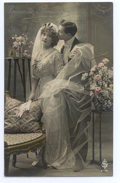 1910s Wedding Postcard