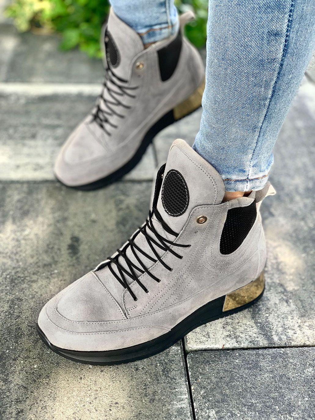 Szare Adidasy Damskie Skorzane High Top Sneakers Top Sneakers Sneakers Nike