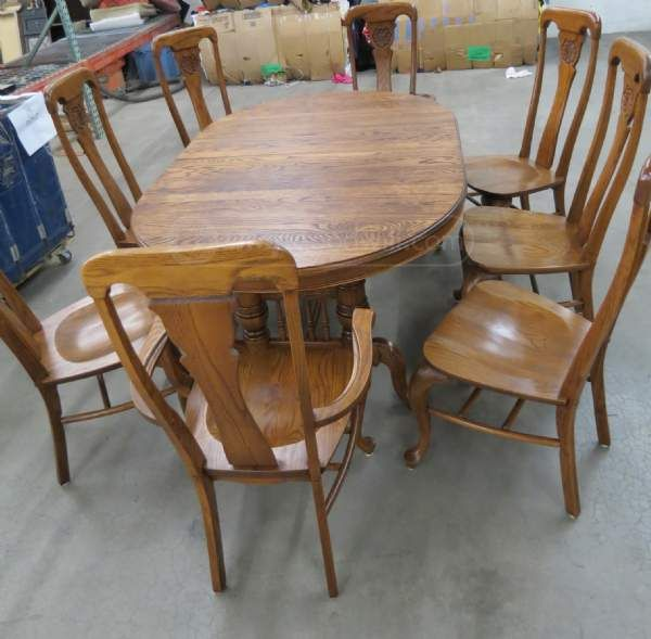 Goodwill Richardson Bros Solid Oak Dining Table 8 Chairs