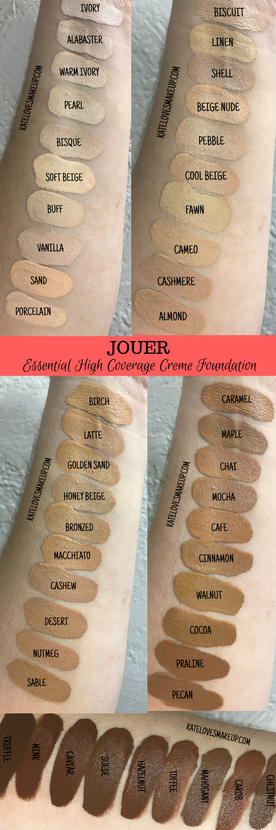 Swatches of all shades the jouer essential high coverage creme foundation from beauty blogger kate loves makeup click through to see also rh pinterest