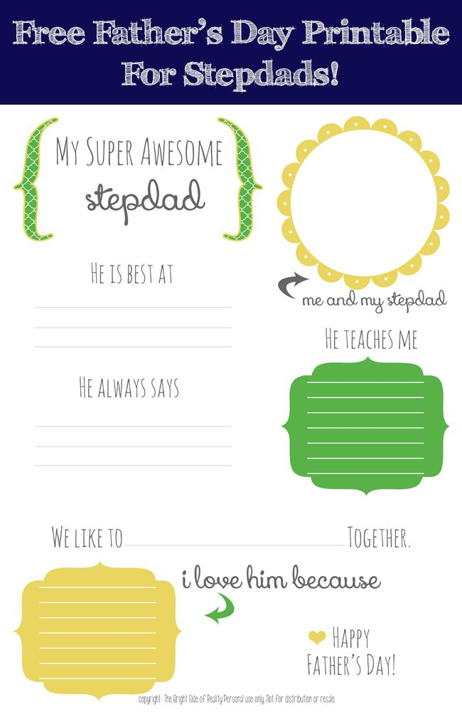 My Super Awesome Stepdad Free Father S Day Printable Crafty