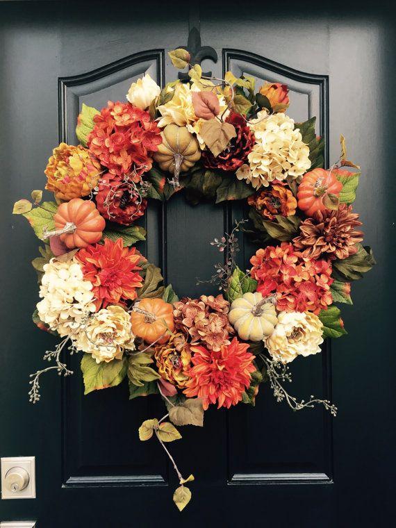 FALL Wreath Thanksgiving Wreath Front Door Wreath by twoinspireyou & FALL Wreath Thanksgiving Wreath Front Door Wreath Holiday Home ...