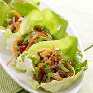 Turkey and spice lettuce wraps; a healthy alternative to the PF Chang appetizer!