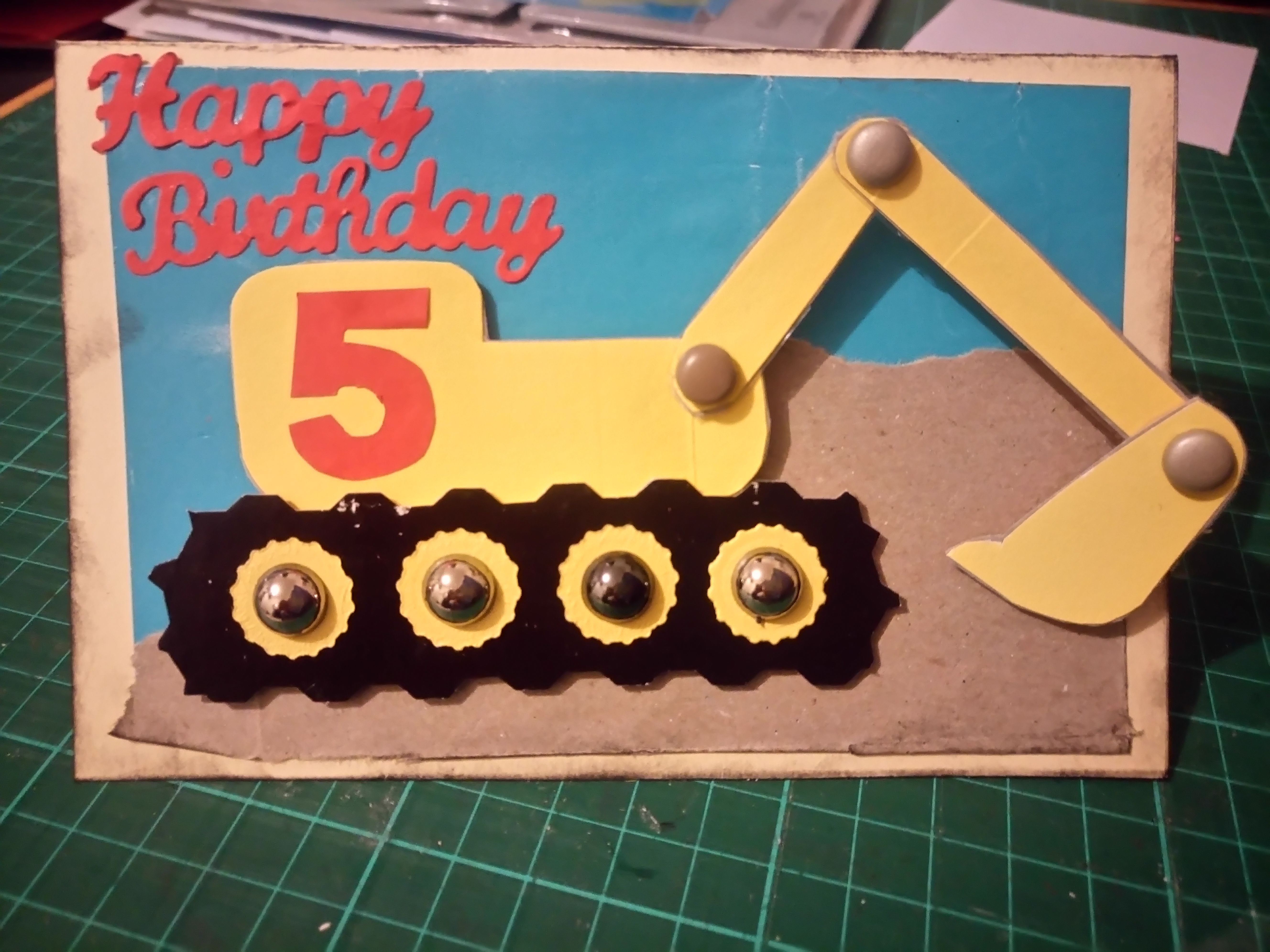 Excavator Digger Card With Moving Parts For 5th Birthday Hand Made By Michelle Walker Birthday Cards For Boys Kids Cards Cards Handmade