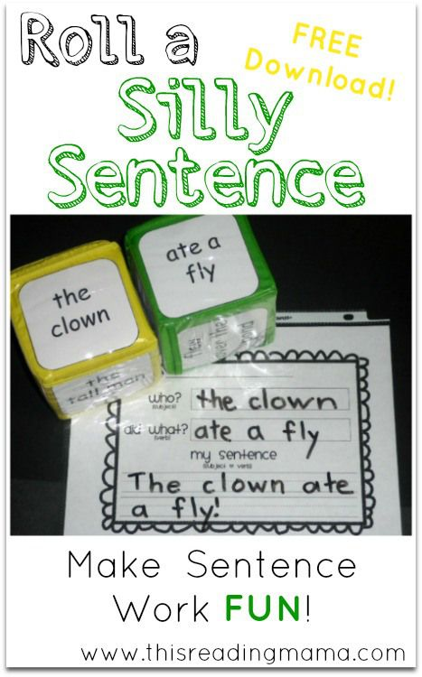 Roll A Silly Sentence Free Printable Included Kindergarten