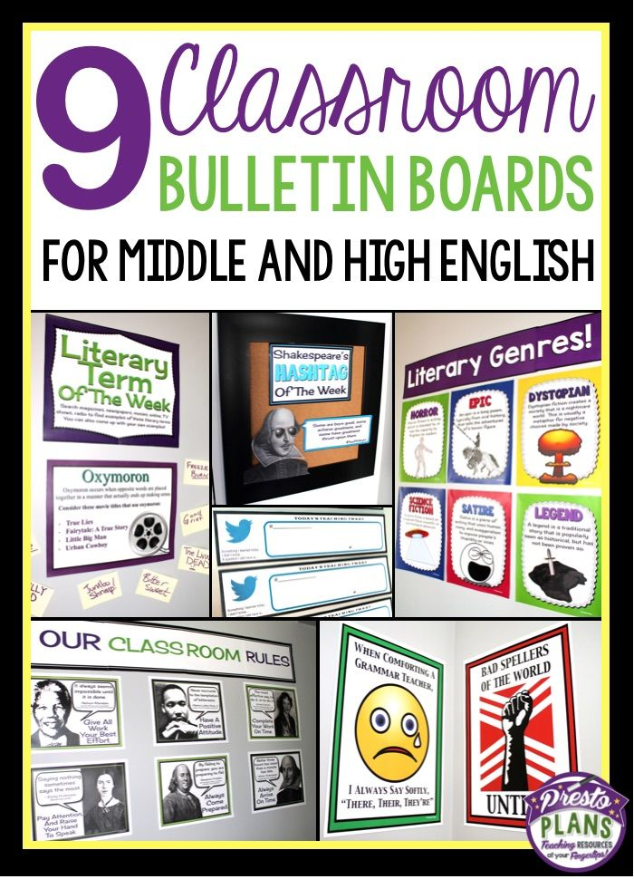 Bulletin Board Ideas For Middle High School English With Images