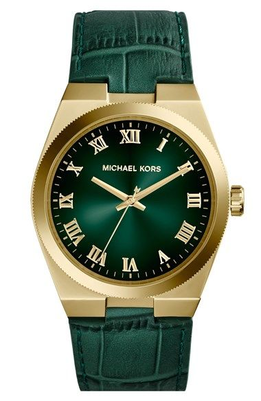 Free shipping and returns on MICHAEL Michael Kors Michael Kors 'Channing' Leather Strap Watch, 38mm at Nordstrom.com. Gleaming Roman numeral indexes rest atop a gorgeous sun-ray dial that coordinates with a rich, croc-embossed leather strap.
