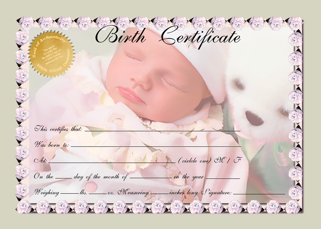 Birth certificate green multi by afox2004iantart on birth certificates for reborn and ooak doll artists xflitez Images