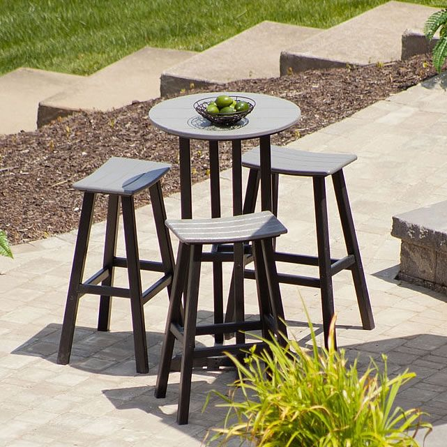 Polywood Saddle Bar Set Best Sellers Outdoor Patio Bar Round