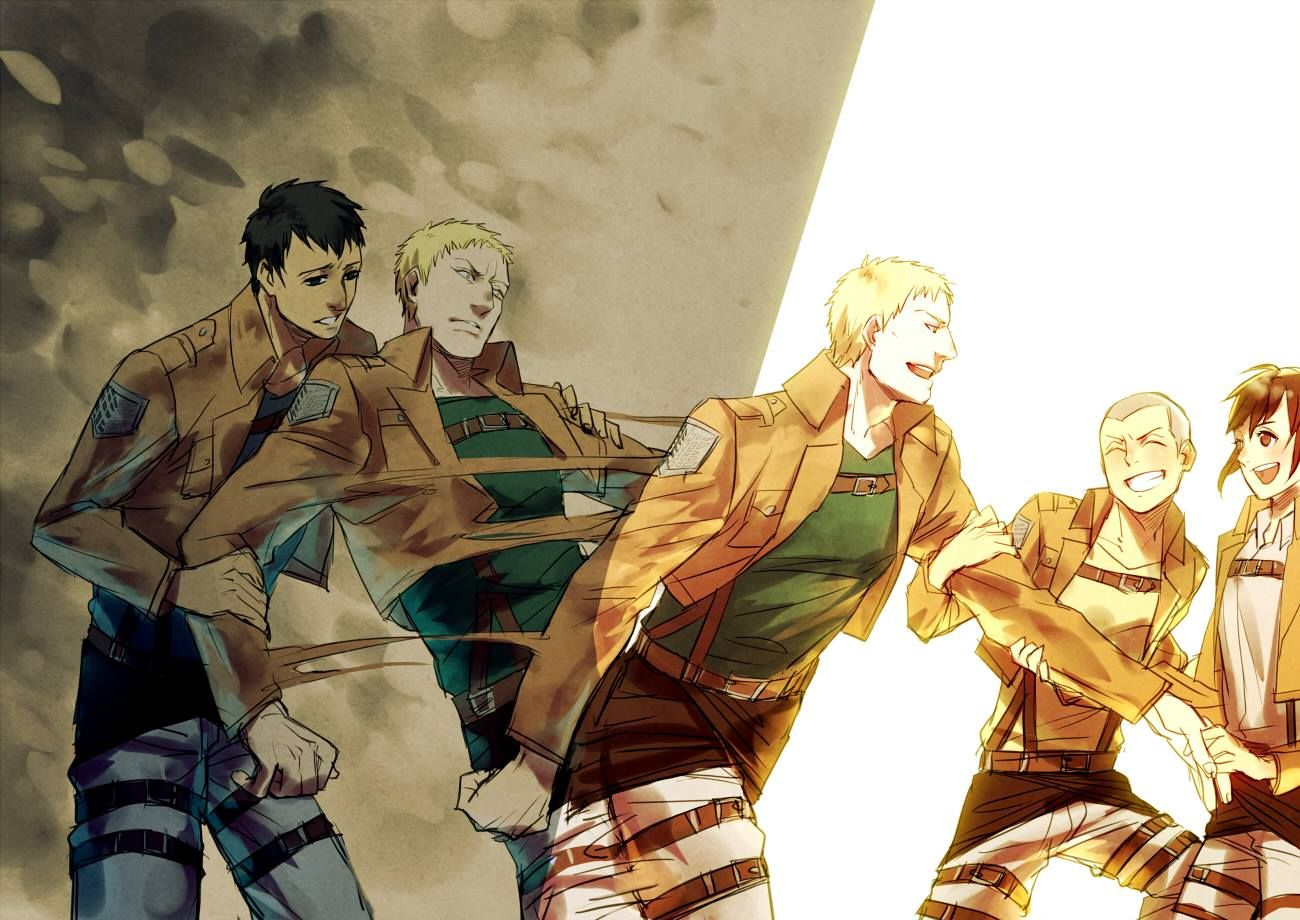 Attack On Titan Between Light And Darkness Reiner Braun Bertholdt Hoover Connie Springer And S Attack On Titan Anime Attack On Titan Art Attack On Titan