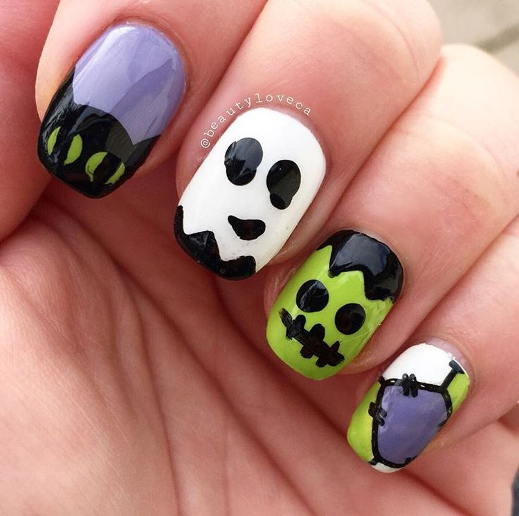 Halloween character nail art - cat, ghost, Frankenstein ...