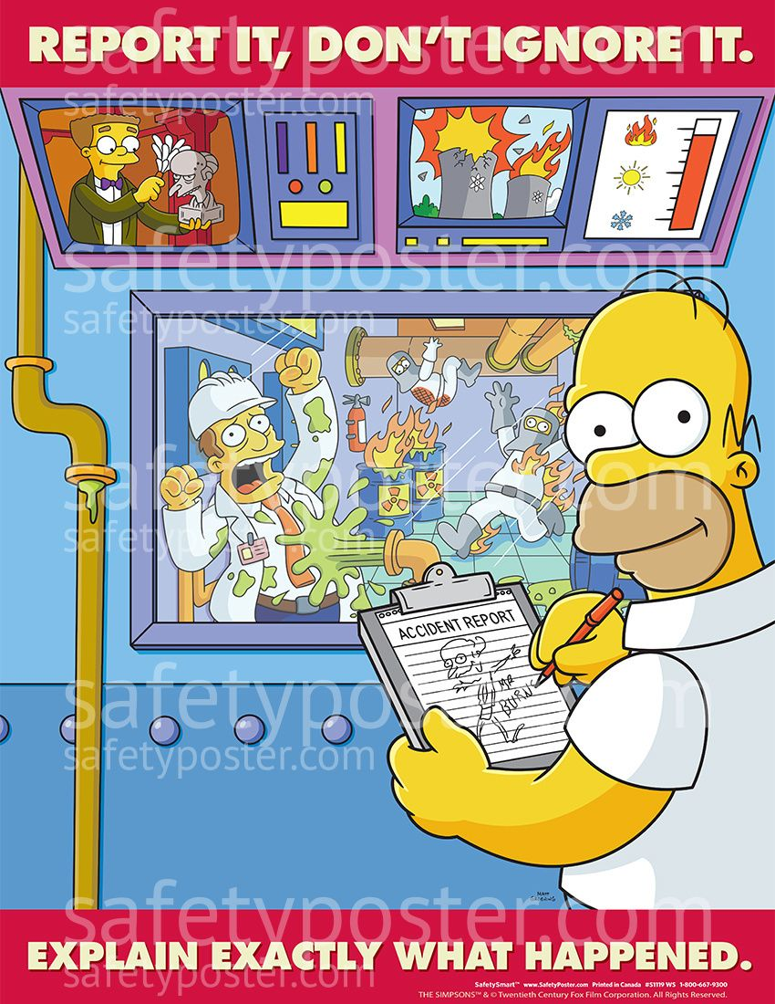 Report It Don't Ignore It Simpsons Safety posters