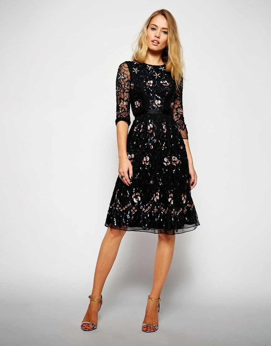 Modest Cocktail Dresses | Sequin midi dress, Sleeve and Dress styles