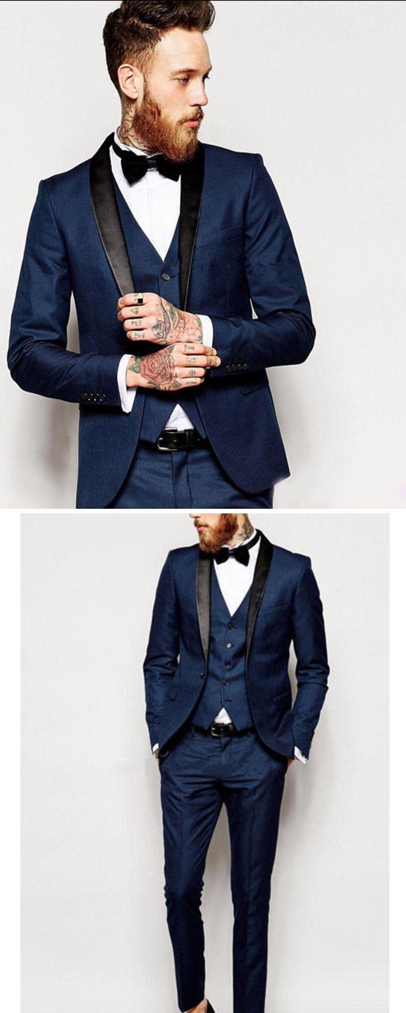 3 Pieces Blue Groom Tuxedos White Shawl Lapel Men Suits Wedding Business Suit