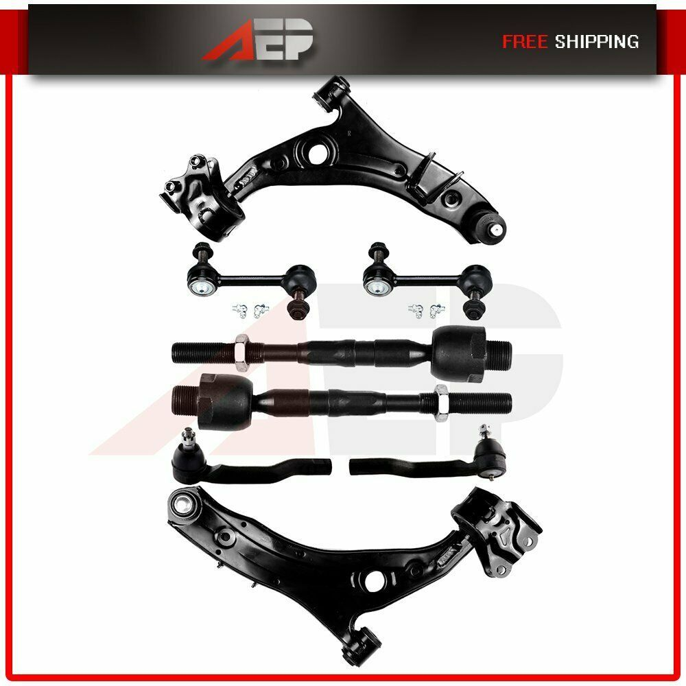 Ad Ebay New 8pcs Front Suspension Lower Control Arms Tie Rods