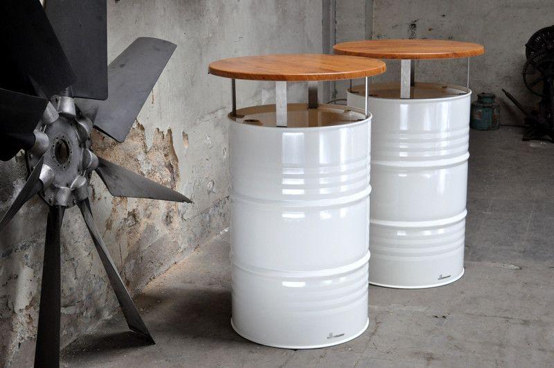 b rom bel stehtisch bistrotisch aus 200 l neu fass pulverbe ein designerst ck von. Black Bedroom Furniture Sets. Home Design Ideas