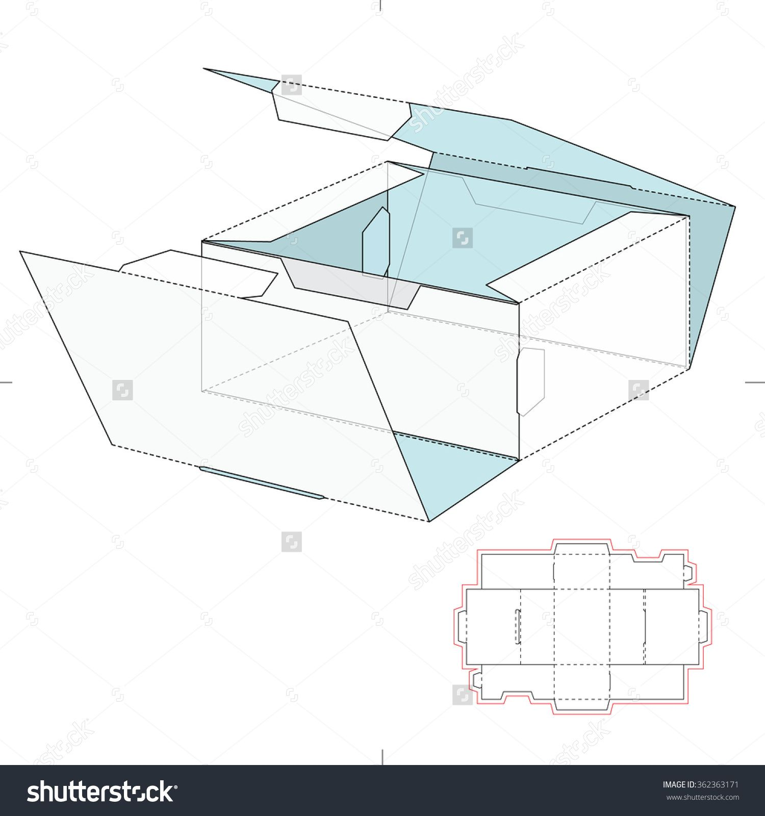 Shipping Slim Retail Box With Die Cut Template Stock Vector