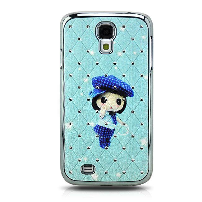 Diamanten-Netz Case Girl Cover für Samsung Galaxy S4 Blau
