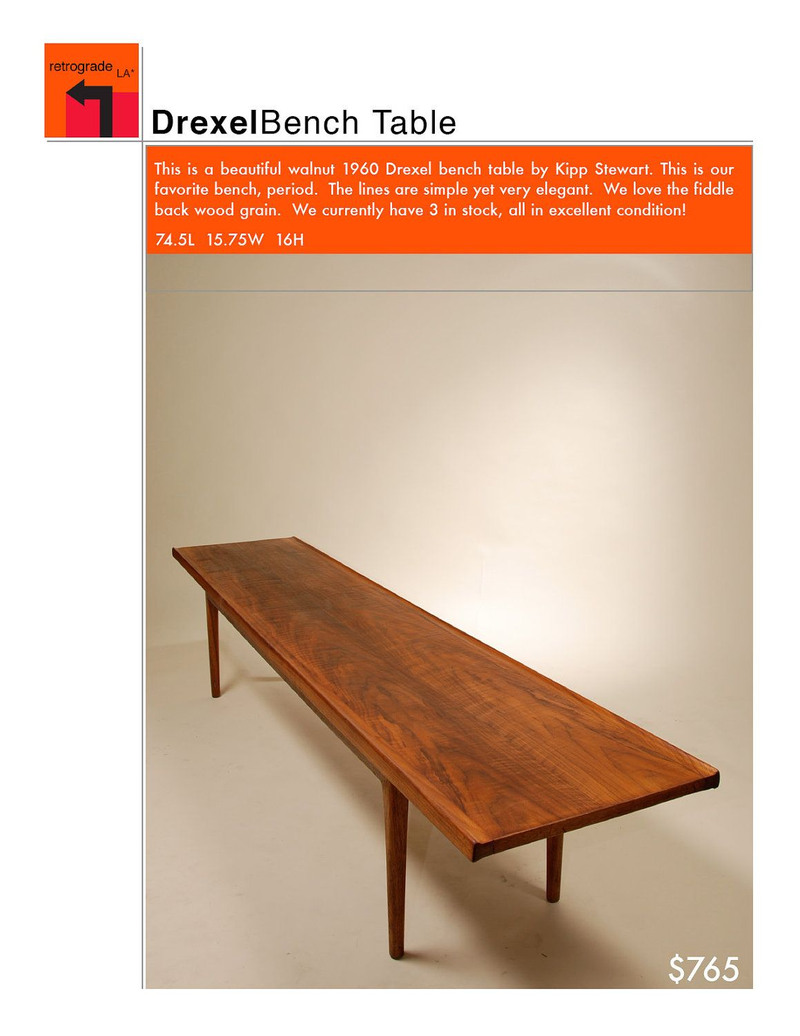 Astounding Mid Century Walnut Bench Coffee Table By Kipp Stewart For Ncnpc Chair Design For Home Ncnpcorg