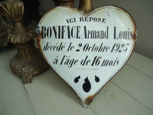 Antique-French-Enamelled-Heart-Memorial-Plaque-Dated-1925 sold for $89