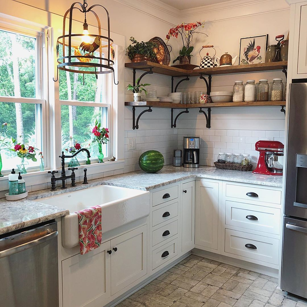 Our1880southerncottage We Love Big Country Kitchens Like This One With A Huge Farm Sink And Open Shel Kitchen Remodel Country Kitchen Kitchen Design Decor