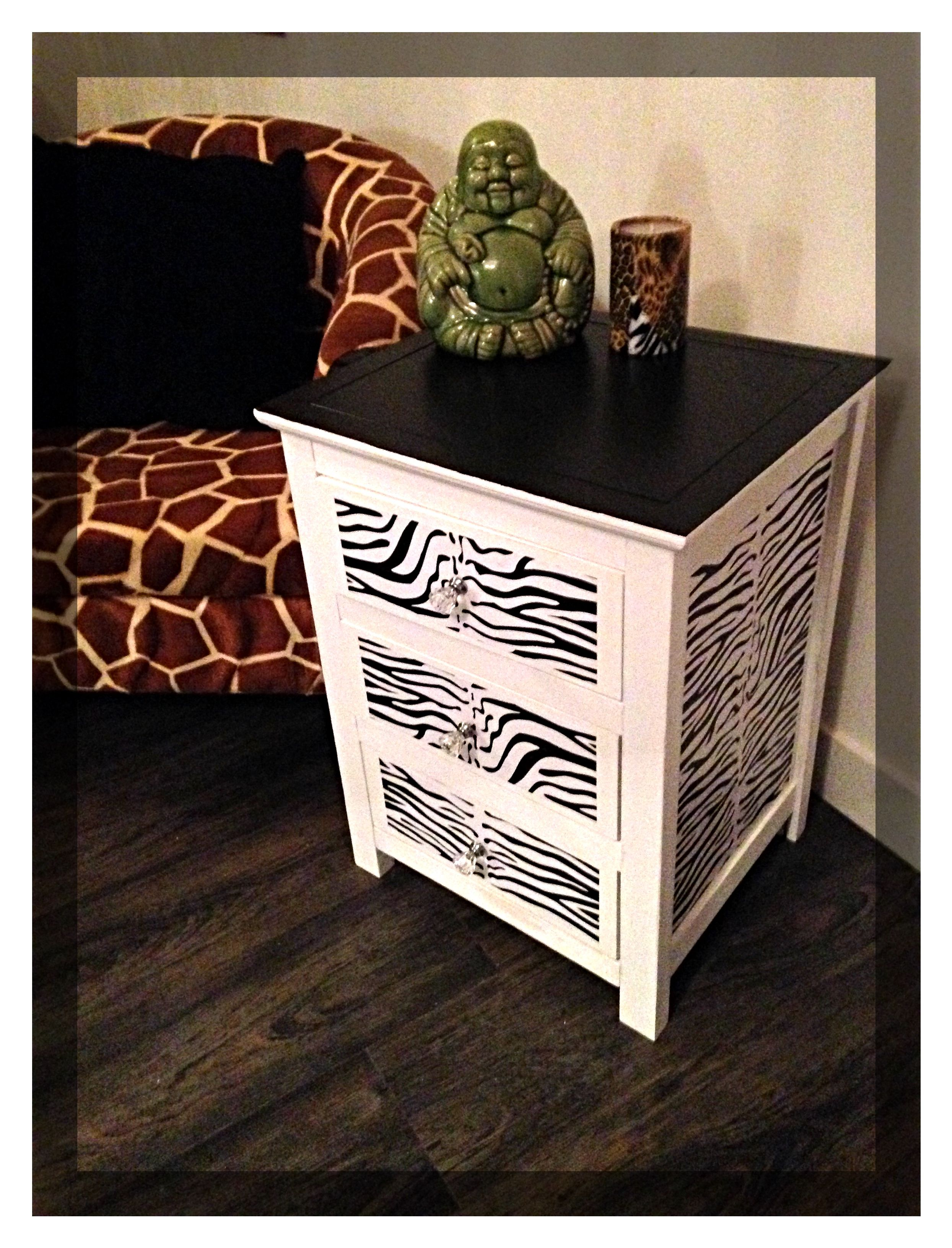 3 Drawer Bedside Table With Zebra Print Decoupage Effect