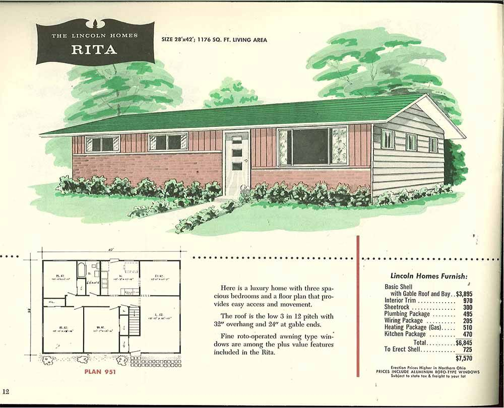 Factory built houses 28 pages of lincoln homes from 1955 for Brick kit homes