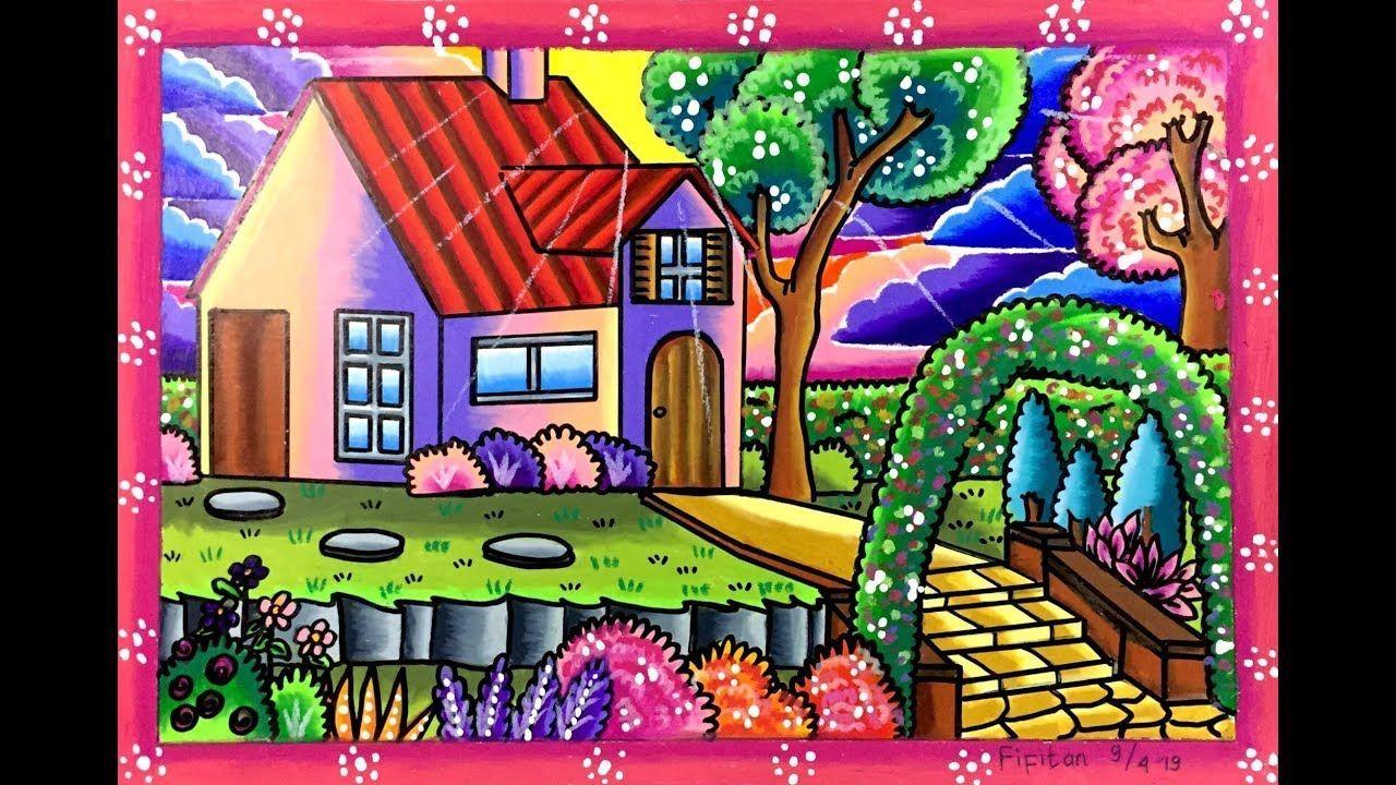 Cara Menggambar Dan Mewarnai Rumah Yang Bagus Oil Pastel Drawings Easy Art Drawings For Kids Kids Art Projects