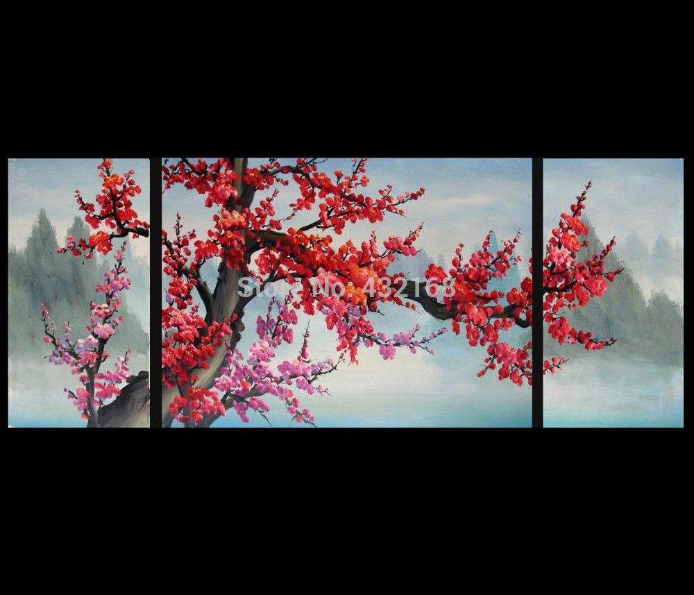 Cherry Blossom Canvas Wall Art japanese-cherry-blossom-abstract-art-paintings-modern-wall-art