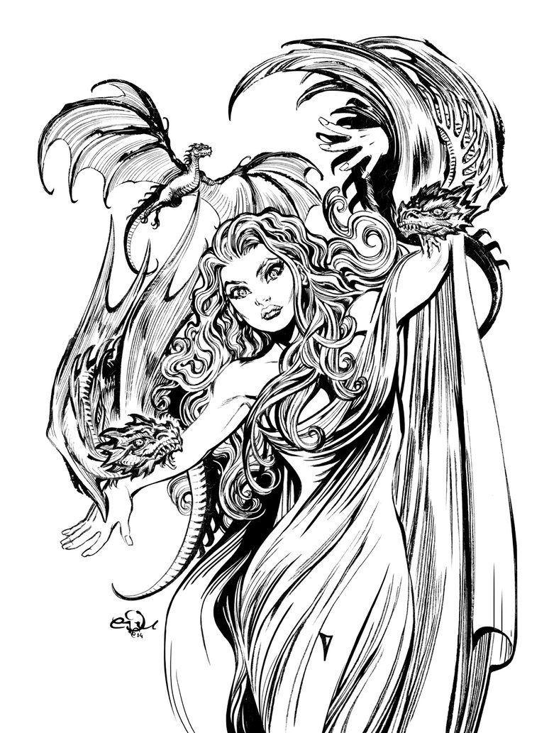 Daenerys Targaryen Game Of Thrones Eduardo Francisco Mother Of Dragons Coloring Pages Colouring Pages