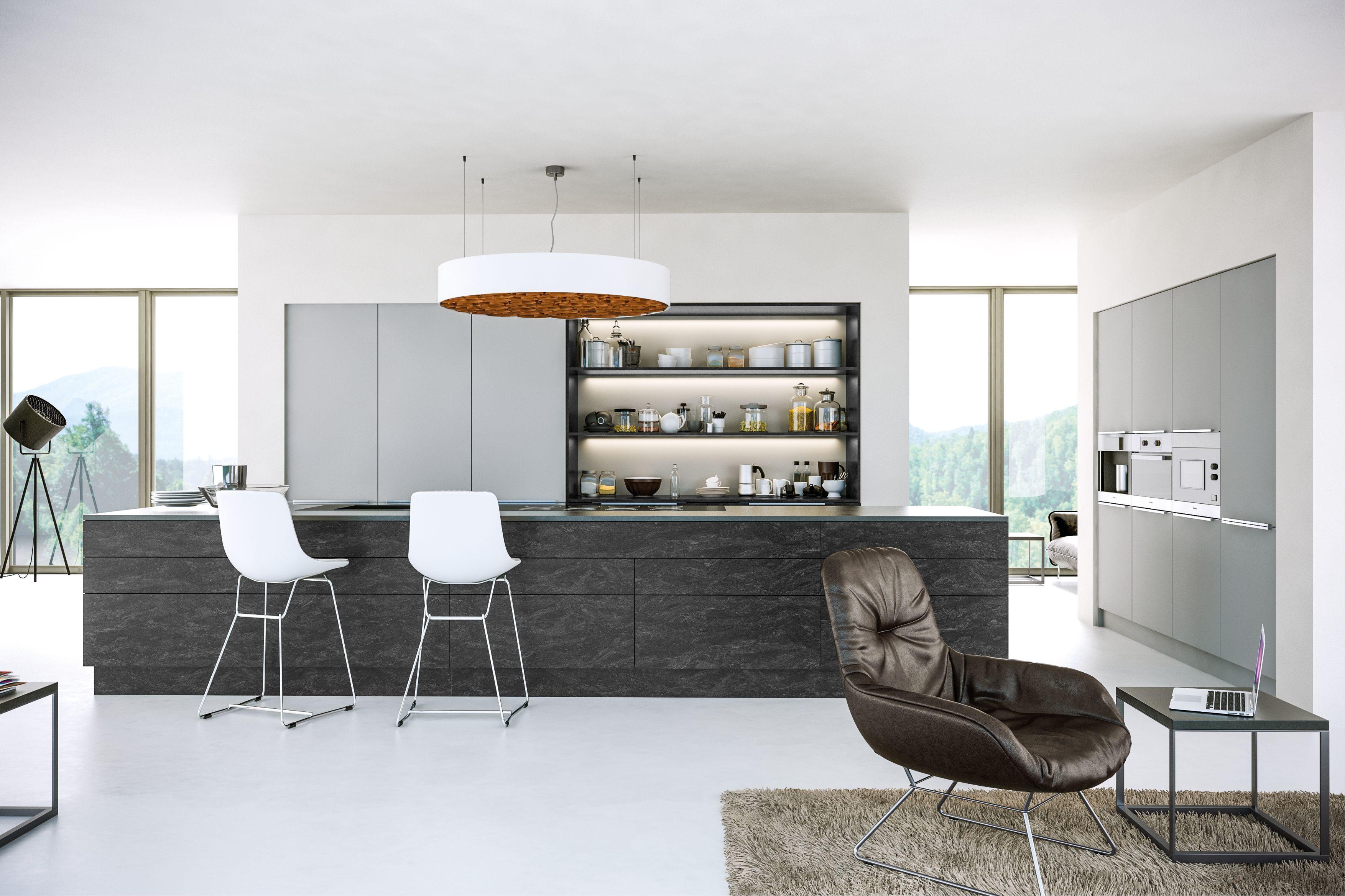 Stone Effect Kitchen Door Dark Graphite Stone Grey