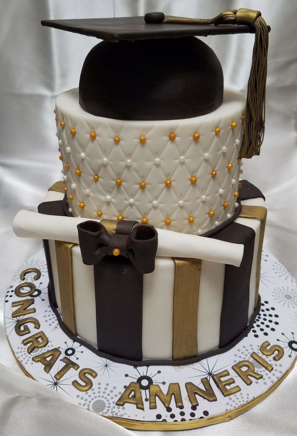 Elegant graduation celebration cake fondant dragees