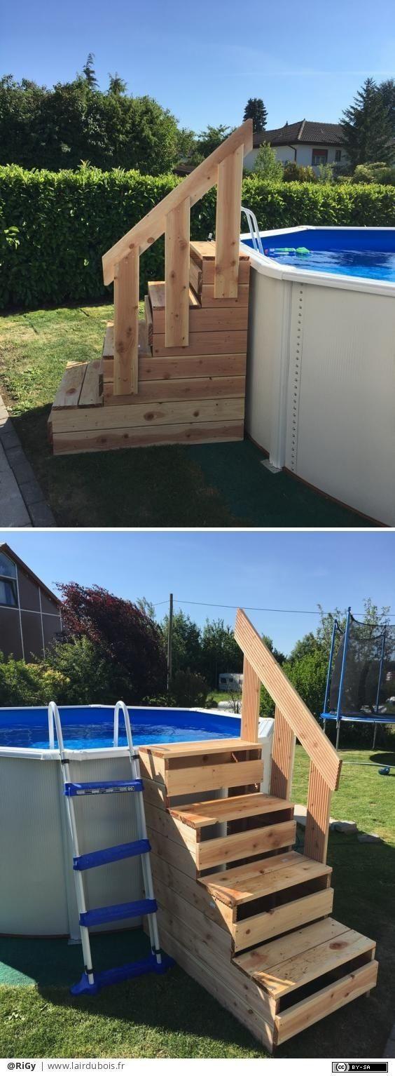 Piscine Hors Sol Avec Toboggan escalier pour piscine hors sol par rigy | amenagement