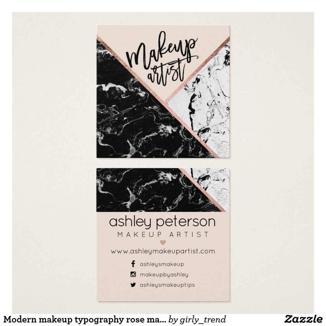 Modern makeup typography rose marble color block square business modern makeup typography rose marble color block square business card magicingreecefo Images