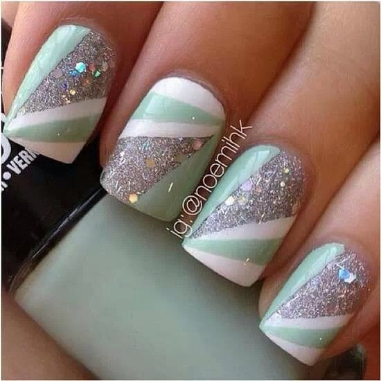 Mint green and glitter silver