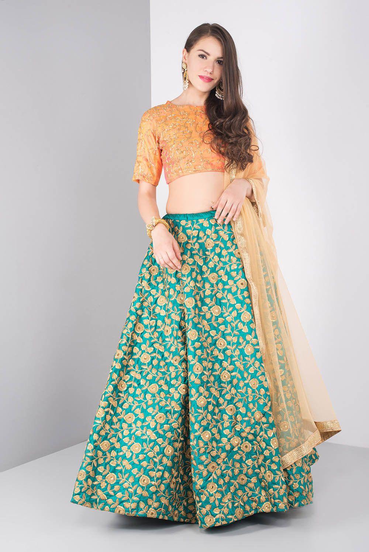 7ae9fa403678 India's largest fashion rental service   lehenga   Orange lehenga ...