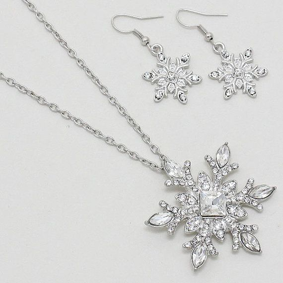Snowflake Necklace Earring Set Winter Wedding Necklace Set Art