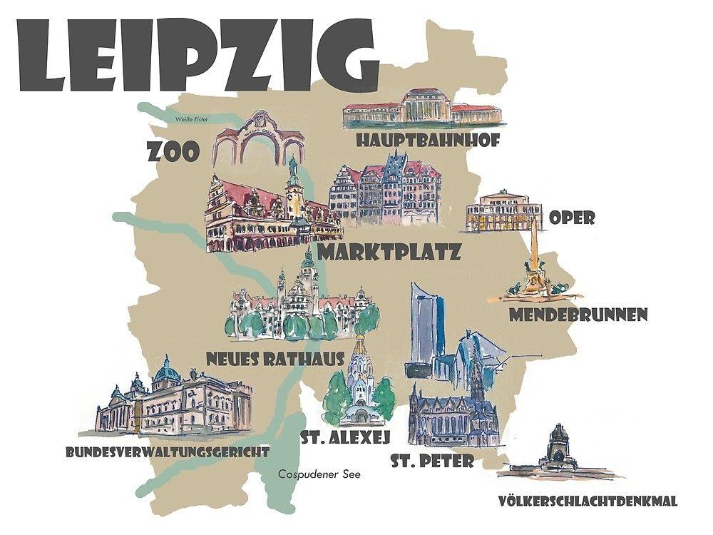 Leipzig Deutschland Retro Karte Mit Sehenswurdigkeiten Von Artshop77