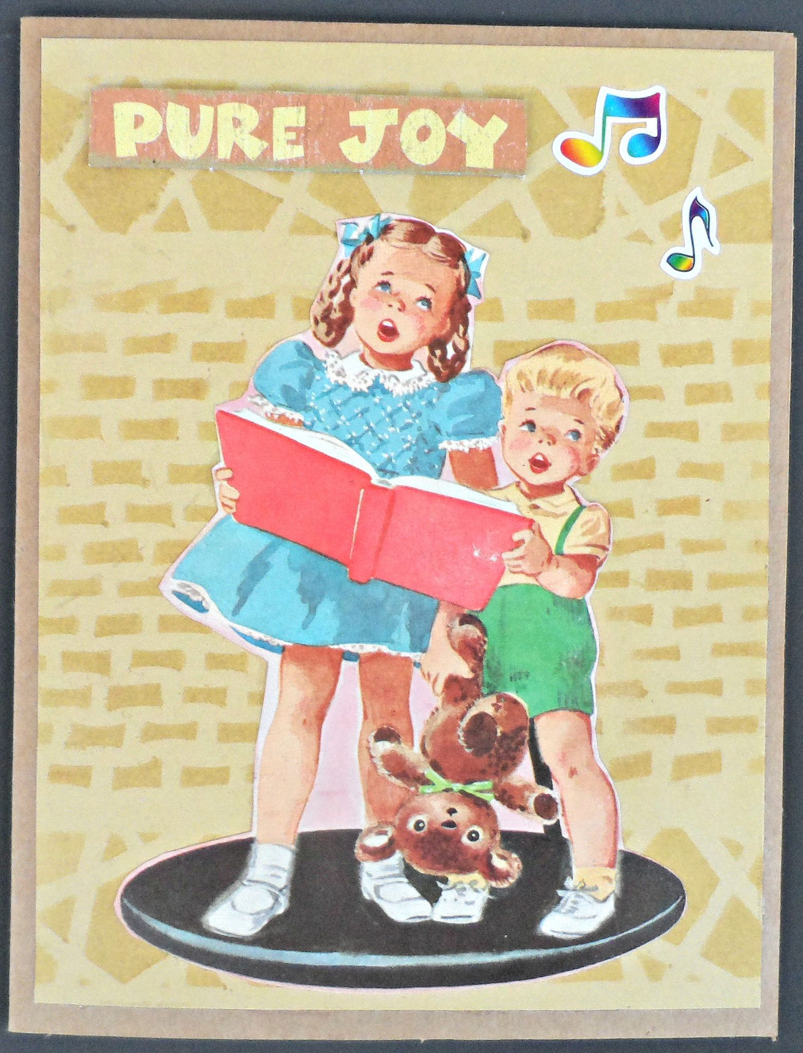 Pure Joy Greeting Card Simple Collage And Stenciling