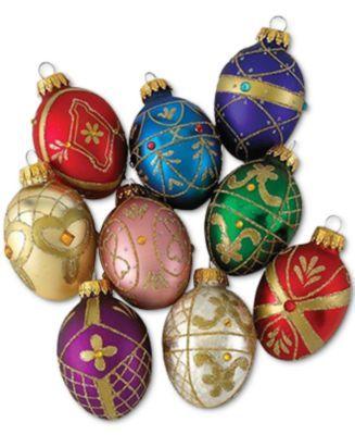 Kurt Adler Set Of 9 Decorative Egg Ornaments Reviews Holiday Shop Home Macy S Christmas Ornament Sets House Ornaments Christmas Ornaments