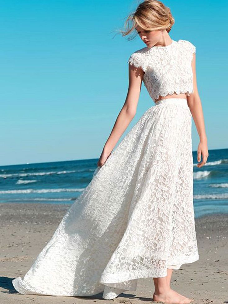 Short sleeves beach separates wedding dress,two piece bridal gowns, 2 piece bridal gowns #croptop #weddingdress #wedding