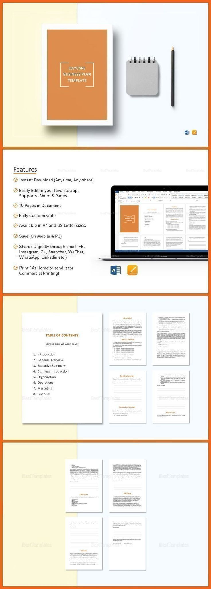 Daycare Business Plan Template   Formats Included Ms Word