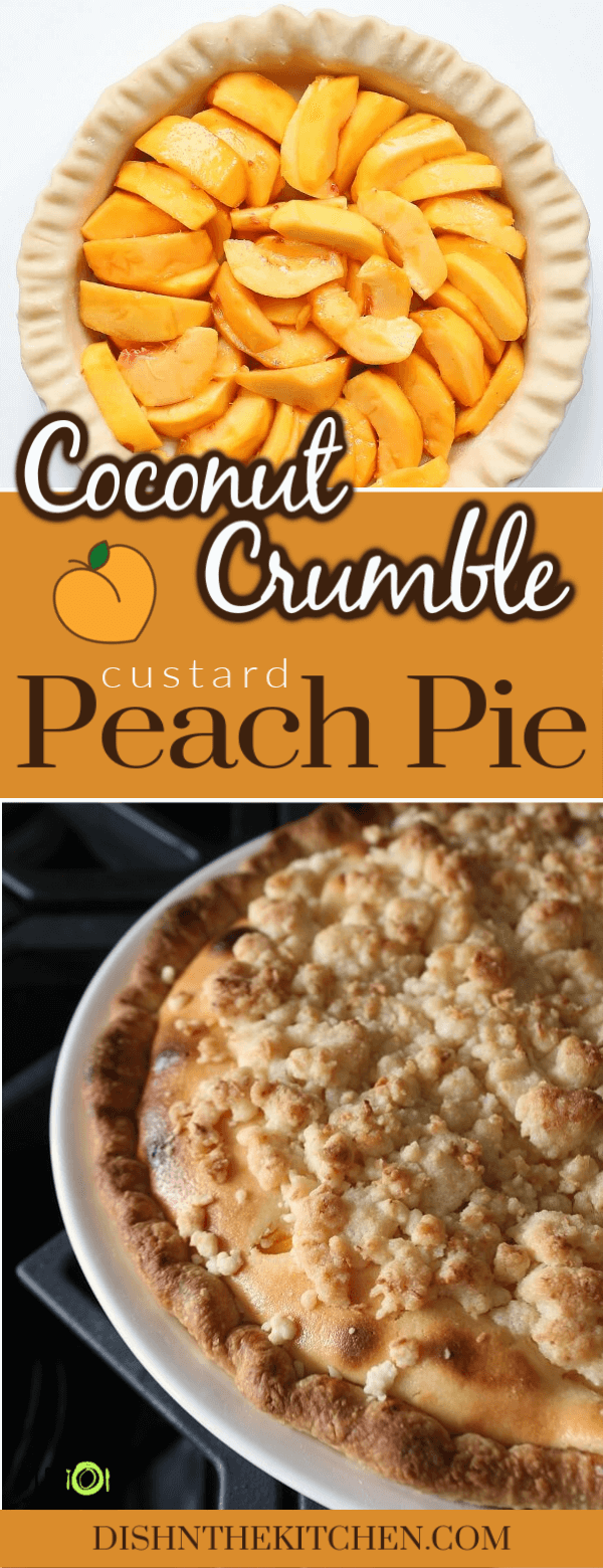 This stunning Peach Custard Pie is filled with fresh sliced peaches and a dreamy coconut custard. It's then topped with clusters of coconut streusel.