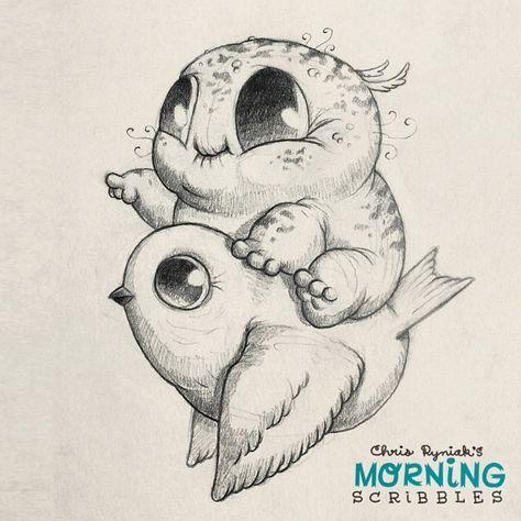 Süße Gezeichnete Tiere Zeichnungen Fantasiezeichnungen