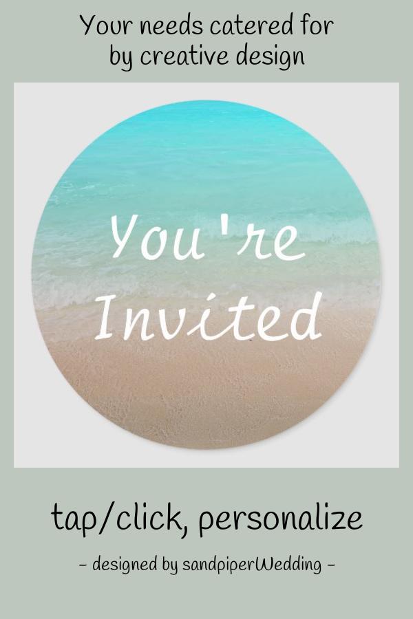 Round Ocean And Beach You Re Invited Sticker Zazzle Com Youre Invited Wedding Stickers Invitations