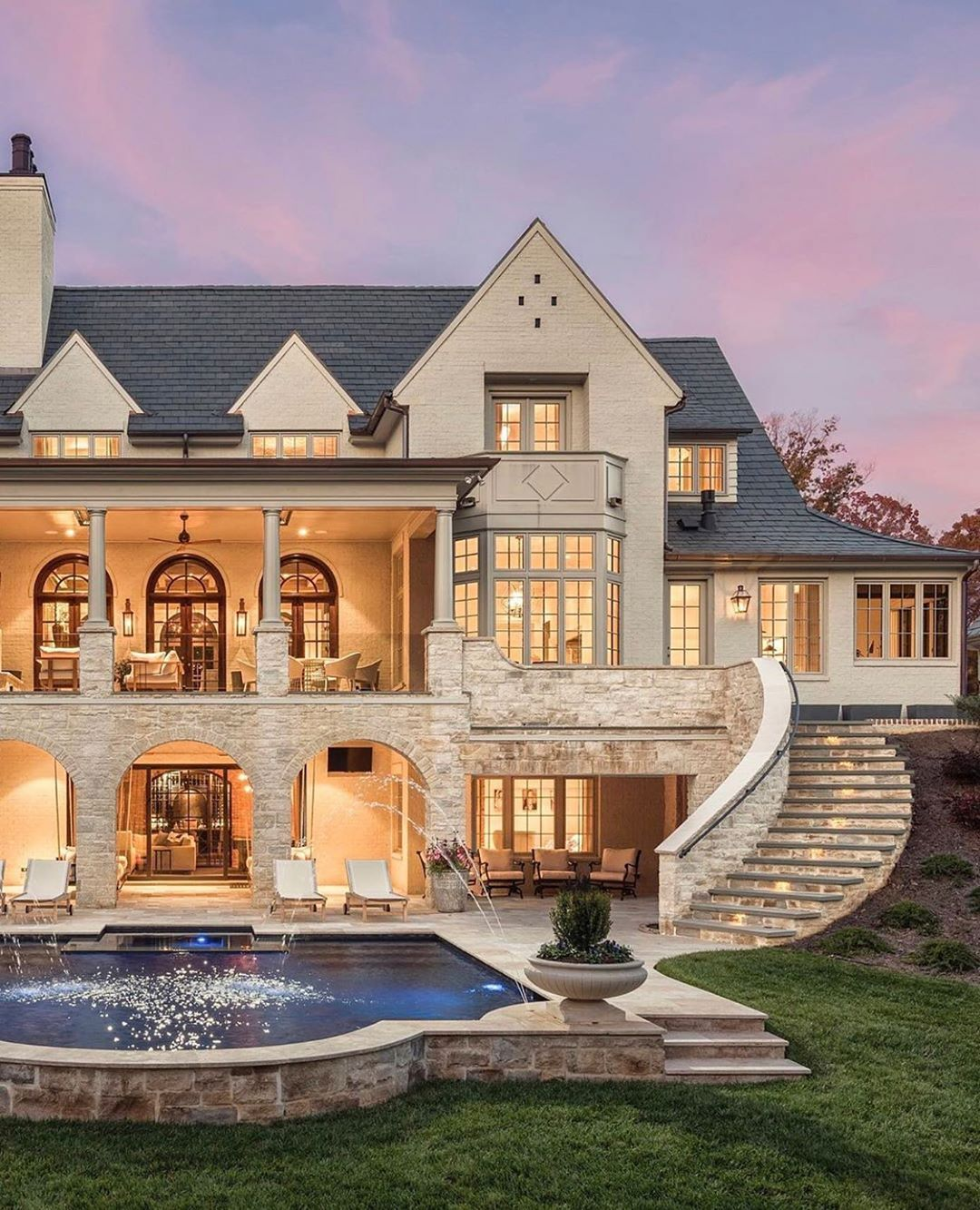 """Bevolo Gas & Electric Lights on Instagram: """"Isn't it grand 😍✨ spectacular property shared by @gerrardbuilders ✨ . . . #luxuryrealestate #dreamhouse #housegoals #charlottehomes…"""""""
