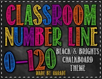 Chalkboard Theme Number Line 0-120 {Black and Brights Theme}