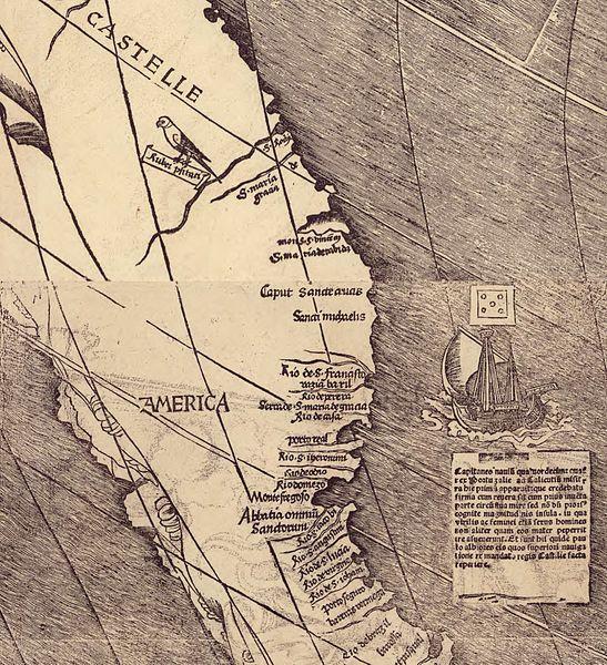 "Pormenor do mapa de Martin Waldseemüller de 1507 onde se lê o nome ""América"" pela primeira vez."