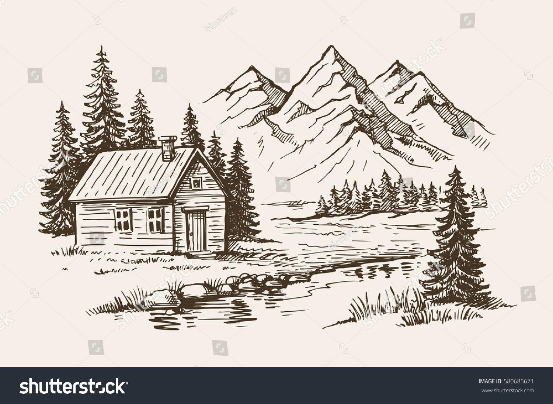 Hand Drawn Vector Illustration Mountain Landscape